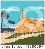 Clipart Of A Retro Wpa Styled Landscape Of Fort Marion In St Augustine Florida United States Royalty Free Vector Illustration by patrimonio