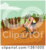 Clipart Of A Retro Wpa Styled Silhouetted Crowd Watching A Male Cyclist Royalty Free Vector Illustration by patrimonio