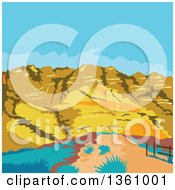 Clipart Of A Retro Wpa Styled Landscape Of Red Rock Canyon Mojave Desert Nevada Royalty Free Vector Illustration by patrimonio