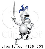 Clipart Of A Lancer School Mascot Running With A Lance Royalty Free Vector Illustration