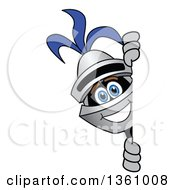 Clipart Of A Lancer School Mascot Looking Around A Sign Royalty Free Vector Illustration by Toons4Biz