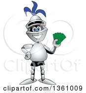 Clipart Of A Lancer School Mascot Holding Cash Money Royalty Free Vector Illustration by Toons4Biz