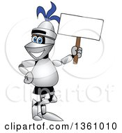 Clipart Of A Lancer School Mascot Holding A Blank Sign Royalty Free Vector Illustration
