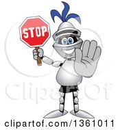 Clipart Of A Lancer School Mascot Gesturing And Holding A Stop Sign Royalty Free Vector Illustration