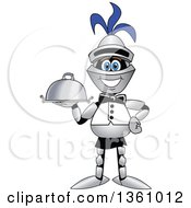 Clipart Of A Lancer School Mascot Waiter Holding A Cloche Platter Royalty Free Vector Illustration