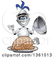 Clipart Of A Lancer School Mascot Serving A Roasted Thanksgiving Turkey Royalty Free Vector Illustration by Toons4Biz