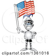 Clipart Of A Lancer School Mascot Holding Up An American Flag Royalty Free Vector Illustration by Toons4Biz