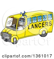 Clipart Of A Lancer School Mascot Waving And Driving A Bus Royalty Free Vector Illustration by Toons4Biz