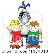 Clipart Of A Lancer School Mascot Posing With Students Royalty Free Vector Illustration by Toons4Biz