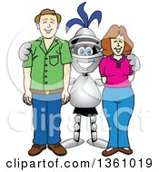 Clipart Of A Lancer School Mascot Posing With Parents Royalty Free Vector Illustration by Toons4Biz