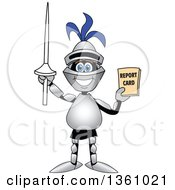 Clipart Of A Lancer School Mascot Student Holding Up A Lance And A Report Card Royalty Free Vector Illustration
