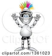 Clipart Of A Cheering Lancer School Mascot With A Mohawk Royalty Free Vector Illustration by Toons4Biz