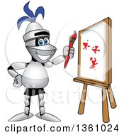 Clipart Of A Lancer School Mascot Painting A Canvas Royalty Free Vector Illustration by Toons4Biz