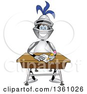 Clipart Of A Lancer School Mascot Student Writing At A Desk Royalty Free Vector Illustration by Toons4Biz