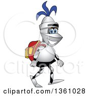 Clipart Of A Lancer School Mascot Student Walking With A Backpack Royalty Free Vector Illustration by Toons4Biz