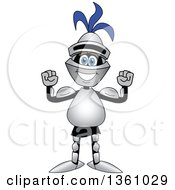 Clipart Of A Lancer School Mascot Flexing His Muscles Royalty Free Vector Illustration by Toons4Biz