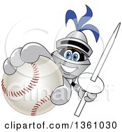 Clipart Of A Lancer School Mascot Holding Up A Lance And Baseball Royalty Free Vector Illustration by Toons4Biz