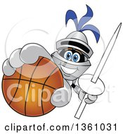 Clipart Of A Lancer School Mascot Holding Up A Lance And Basketball Royalty Free Vector Illustration by Toons4Biz