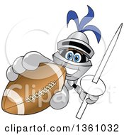 Clipart Of A Lancer School Mascot Holding Up A Lance And Football Royalty Free Vector Illustration by Toons4Biz