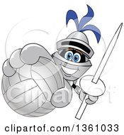 Clipart Of A Lancer School Mascot Holding Up A Lance And Volleyball Royalty Free Vector Illustration by Toons4Biz