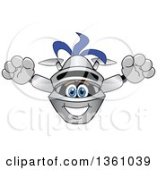 Clipart Of A Lancer School Mascot Leaping Forward Royalty Free Vector Illustration by Toons4Biz