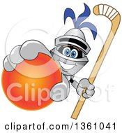 Clipart Of A Lancer School Mascot Holding Up A Stick And A Field Hockey Ball Royalty Free Vector Illustration by Toons4Biz