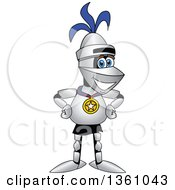 Clipart Of A Lancer School Mascot Proudly Wearing A Sports Medal Royalty Free Vector Illustration by Toons4Biz