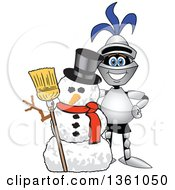 Clipart Of A Lancer School Mascot With A Christmas Snowman Royalty Free Vector Illustration by Toons4Biz