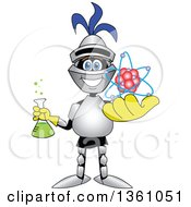 Clipart Of A Lancer School Mascot Student Holding A Science Beaker And Atom Royalty Free Vector Illustration by Toons4Biz