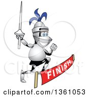 Clipart Of A Lancer School Mascot Holding A Lance And Racing Through A Finish Line Royalty Free Vector Illustration by Toons4Biz