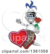 Clipart Of A Lancer School Mascot Holding A Rose Over Valentines Day Chocolates Royalty Free Vector Illustration by Toons4Biz