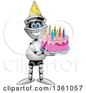 Clipart Of A Lancer School Mascot Holding A Birthday Cake Royalty Free Vector Illustration by Toons4Biz