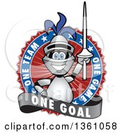 Clipart Of A Lancer School Mascot Holding Up A Lance In A Circle Logo With One Team One Game One Goal Text Royalty Free Vector Illustration by Toons4Biz