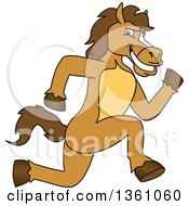 Clipart Of A Horse Colt Bronco Stallion Or Mustang School Mascot Character Sprinting Royalty Free Vector Illustration by Toons4Biz