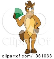 Clipart Of A Horse Colt Bronco Stallion Or Mustang School Mascot Character Holding Cash Money Royalty Free Vector Illustration by Toons4Biz