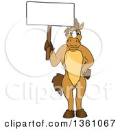 Clipart Of A Horse Colt Bronco Stallion Or Mustang School Mascot Character Holding A Blank Sign Royalty Free Vector Illustration by Toons4Biz