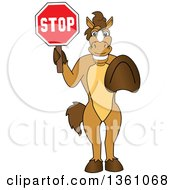 Clipart Of A Horse Colt Bronco Stallion Or Mustang School Mascot Character Gesturing And Holding A Stop Sign Royalty Free Vector Illustration