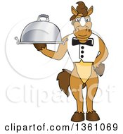 Clipart Of A Horse Colt Bronco Stallion Or Mustang School Mascot Character Waiter Holding A Cloche Platter Royalty Free Vector Illustration by Toons4Biz