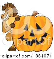 Clipart Of A Horse Colt Bronco Stallion Or Mustang School Mascot Character Looking Around A Halloween Jackolantern Pumpkin Royalty Free Vector Illustration by Toons4Biz