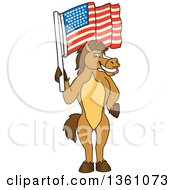 Clipart Of A Horse Colt Bronco Stallion Or Mustang School Mascot Character Holding An American Flag Royalty Free Vector Illustration by Toons4Biz
