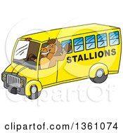 Clipart Of A Horse Colt Bronco Stallion Or Mustang School Mascot Character Waving And Driving A Bus Royalty Free Vector Illustration