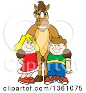 Clipart Of A Horse Colt Bronco Stallion Or Mustang School Mascot Character Posing With Students Royalty Free Vector Illustration by Toons4Biz