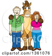 Clipart Of A Horse Colt Bronco Stallion Or Mustang School Mascot Character Posing With Student Parents Royalty Free Vector Illustration by Toons4Biz