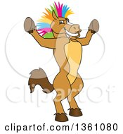 Clipart Of A Horse Colt Bronco Stallion Or Mustang School Mascot Character With A Colorful Mohawk Cheering Royalty Free Vector Illustration by Toons4Biz
