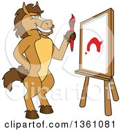 Clipart Of A Horse Colt Bronco Stallion Or Mustang School Mascot Character Painting A Canvas Royalty Free Vector Illustration by Toons4Biz