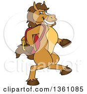 Clipart Of A Horse Colt Bronco Stallion Or Mustang School Mascot Character Student Walking With A Backpack Royalty Free Vector Illustration by Toons4Biz