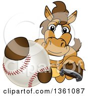 Clipart Of A Horse Colt Bronco Stallion Or Mustang School Mascot Character Grabbing A Baseball Royalty Free Vector Illustration by Toons4Biz