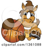 Clipart Of A Horse Colt Bronco Stallion Or Mustang School Mascot Character Grabbing A Basketball Royalty Free Vector Illustration by Toons4Biz