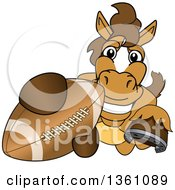 Clipart Of A Horse Colt Bronco Stallion Or Mustang School Mascot Character Grabbing A Football Royalty Free Vector Illustration by Toons4Biz