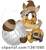 Clipart Of A Horse Colt Bronco Stallion Or Mustang School Mascot Character Grabbing A Volleyball Royalty Free Vector Illustration by Toons4Biz